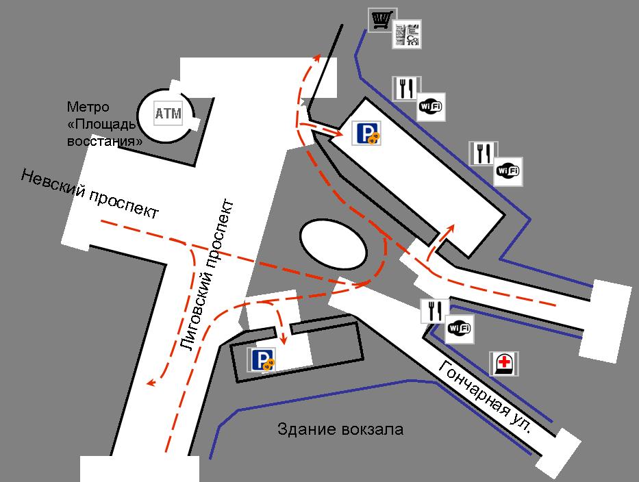 Ладожский вокзал схема заезда на стоянку